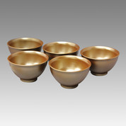 Silver color - Tokoname Pottery Tea Cup : 5chawan - Japanese casual ceramic - Set Image