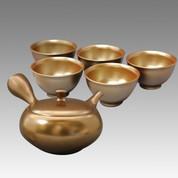 Tokoname Kyusu Teaset (B) - UKO - Silver color 1pot & 5yunomi cups - Set Image