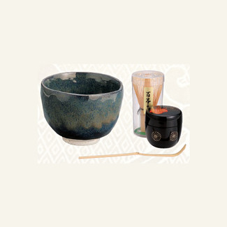 [VALUE] Matcha Bowl Set D - Bowl, Caddy, Chasen whisk, Chashaku tea scoop