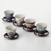 [VALUE] Senchawan 5 teacups & saucers set w box - Japanese Aritayaki Porcelain