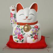 Mansuke Manekineko - A - Right hand up - w zabuton Japanese red cushion - Lucky cat (Welcome cat)
