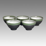Green muddy - Tokoname Pottery Tea Cup : 5chawan - Japanese casual ceramic - Set Image