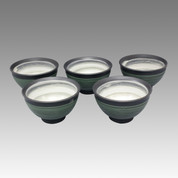 Green comb - Tokoname Pottery Tea Cup : 5chawan - Japanese casual ceramic - Set Image