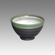 Green collar - Tokoname Pottery Tea Cup : chawan - Japanese casual ceramic - Item Image