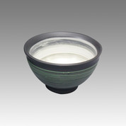 Green comb - Tokoname Pottery Tea Cup : chawan - Japanese casual ceramic