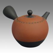 Tokoname Kyusu teapot - SHOHO - Red nota cut 320cc/ml - ceramic fine mesh - Item Image