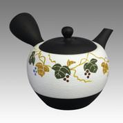 Tokoname Kyusu teapot - SHOHO - White nota Grape 320cc/ml - ceramic fine mesh - Item Image
