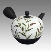 Tokoname Kyusu teapot - SHOHO - White nota Knotweed 320cc/ml - ceramic fine mesh - Item Image
