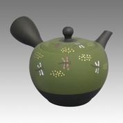 Tokoname Kyusu teapot - SHOHO - Green nota Dragonfly 320cc/ml - ceramic fine mesh - Item Image