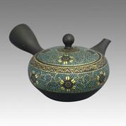 Tokoname Kyusu teapot - SHOHO - Gold & Blue grain 260cc/ml - ceramic fine mesh - Item Image