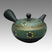 Tokoname Kyusu teapot - SHOHO - Gold & Blue Grain 350cc/ml - obi ami stainless steel net - Item Image