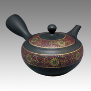 Tokoname Kyusu teapot - SHOHO - Red Grain 350cc/ml - obi ami stainless steel net - Item Image