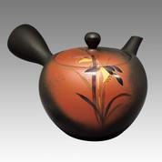Tokoname Kyusu teapot - SHOHO - Orchid 320cc/ml - obi ami stainless steel net - Item Image