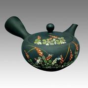 Tokoname Kyusu teapot - SHOHO - Bush clover 260cc/ml - obi ami stainless steel net - Item Image
