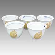 Gold Leaf - Tokoname Pottery Tea Cup : 5chawan - Japanese casual ceramic - Set Image