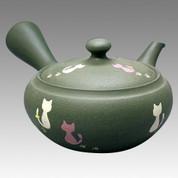 Tokoname Kyusu teapot - JINSUI - Chlorite Cat 400cc/ml - obi ami stainless steel net - Item Image