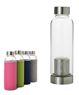 Carry tea bottle 380 ml/cc with cover 4 color - stainless steel fine net & cap