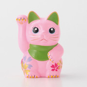 Sakura Mini Manekineko - B - Right hand up - Lucky cat (Welcome cat)