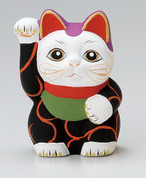 Karakusa Mini Manekineko - A - Right hand up - Lucky cat (Welcome cat)