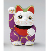 Karakusa Mini Manekineko - E - Right hand up - Lucky cat (Welcome cat)