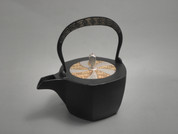 Hexagon Kotetsubin - Gold Silver & Thunder - 350ml/cc - Small Iron Teapot Kettle