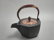 Hexagon Kotetsubin - Red Bamboo - 350ml/cc - Small Iron Teapot Kettle