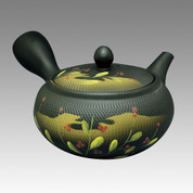 Tokoname Kyusu teapot - AKIRA - Billy Red Flower 360cc/ml - obi ami stainless steel net - Item Image