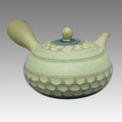 Tokoname Kyusu teapot - AKIRA - 3 Color Cut 360cc/ml - obi ami stainless steel net - Item Image