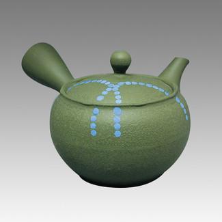 Tokoname Kyusu teapot - HAKUYO - Light Blue Dotted Line 300cc/ml - obi ami stainless steel net - Item Image