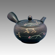 Tokoname Kyusu teapot - SHUNJYU - Black 290cc/ml - obi ami stainless steel net - Item Image