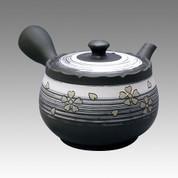 Tokoname Kyusu teapot - SHUNJYUN - Blurred SAKURA 340cc/ml - obi ami stainless steel net - Item Image