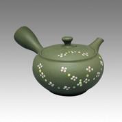 Tokoname Kyusu teapot - SHUNJYUN - Flower Line 220cc/ml - obi ami stainless steel net - Item Image