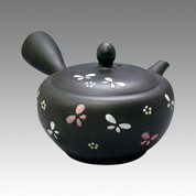 Tokoname Kyusu teapot - SHUNZYU - Flower & Butterfly 330cc/ml - obi ami stainless steel net - Item Image