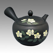 Tokoname Kyusu teapot - SHUNJYU - Japanese rose 340cc/ml - obi ami stainless steel net - Item Image