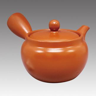 Tokoname Kyusu teapot - FUSEN - Orange 330cc/ml - Refresh stainless steel net - Item Image