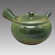 Tokoname Kyusu teapot - MAMIYA - Ash glaze 370cc/ml - Refresh stainless steel net - Item Image