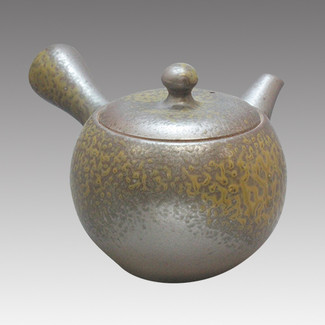 Tokoname Kyusu teapot - ISSIN - Black Iraq glaze 360cc/ml - Refresh stainless steel net - Item Image