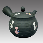 Tokoname Kyusu teapot - HAKUYO - Cat 300cc/ml - Refresh stainless steel net - Item Image
