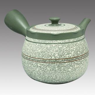 Tokoname Kyusu teapot - SHUNJYU - White-blown 450cc/ml - Flat ami stainless steel net - Item Image