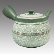 Tokoname Kyusu teapot - SHUNJYU - White-blown 450cc/ml - Flat ami stainless steel net - Item Image