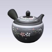 Tokoname Kyusu teapot - SHUNJYU - White Line Flower - 340cc/ml