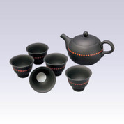 Tokoname Kyusu Teaset - Red Dot - 200cc/ml - 1pot & 5yunomi cups with wooden box