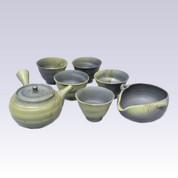 Tokoname Kyusu Teaset - HAKUSAN - Algae Hanging - 240cc/ml - 1pot & 5yunomi cups & 1Yuzamashi