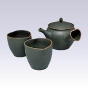 Tokoname Kyusu Teaset - GYOKKO - Ebony Hearts - 300cc/ml - 1pot & 2yunomi cups