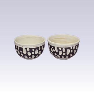 Tokoname Pottery Tea Cups - KENJITOEN - Kneading Polka Dot - 2yunomi cups