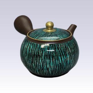 Tokoname Kyusu teapot - SHUNJYU - Green & Black Line - 190cc/ml