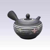 Tokoname Kyusu teapot - SHUNJYU - White Line Flower - 330cc/ml