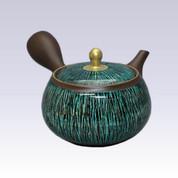 Tokoname Kyusu teapot - SHUNJYU - Green & Black Line - 350cc/ml