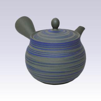 Tokoname Kyusu teapot - HAKUYO - Green Mud Blue Line - 300cc/ml