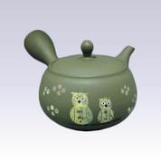 Tokoname Kyusu teapot - SHUNJYU - Owl - 340cc/ml - Refreshing steel net